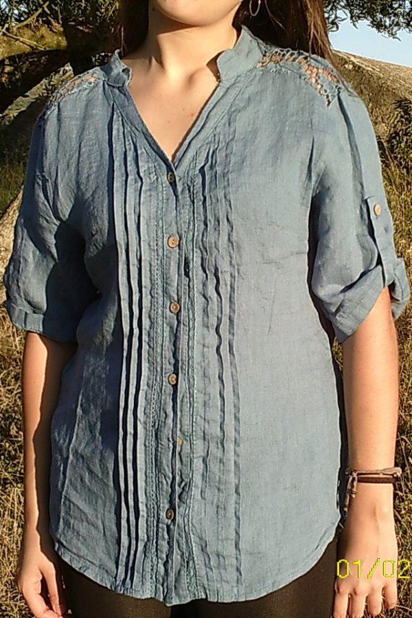 Blusa Lino Color Azul -40%Dto