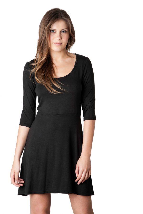 Vestido Negro Tejido Modal Skater