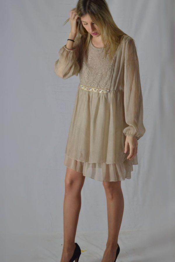 Vestido Seda Algodon Beig