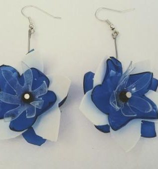 Pendientes Anemona Azul Blanco